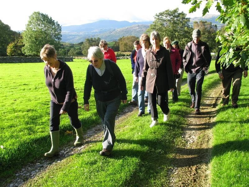 A group of Friends walk the Quaker Trail