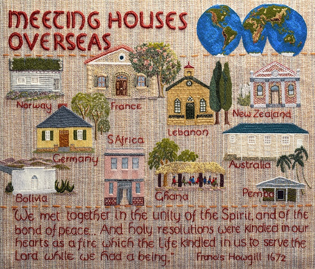 Panel from the Quaker Tapestry entitled Meeting Houses Overseas