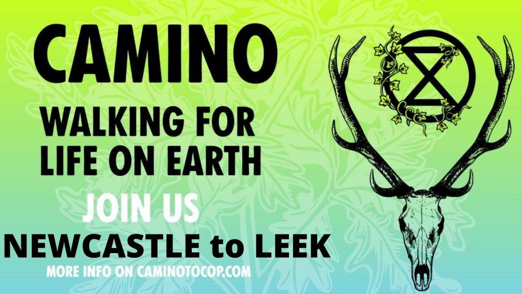 """Banner reading """"CAMINO Walking for Life on Earth Join us Newcastle to Leek"""""""