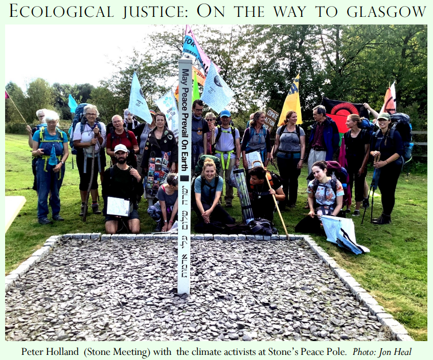 Peter Holland (Stone Meeting) with the climate activists at Stone Peace Pole.